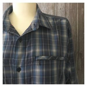 Men's North Face Blue Plaid Button Down Shirt